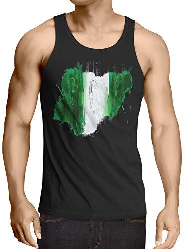 CottonCloud Flagge Nigeria Herren Tank Top Fußball Sport Afrika WM EM Fahne, Größe:L, Farbe:Schwarz