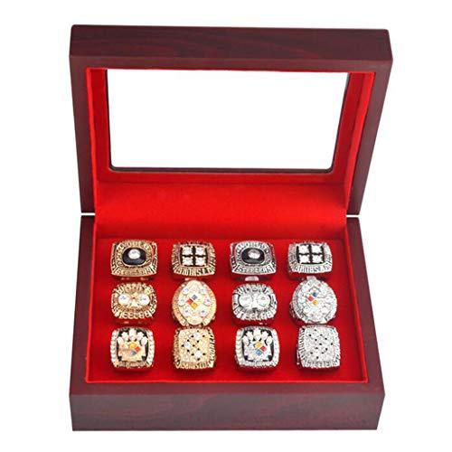 FLAMEER Schmuck-Etui für Trauringe Freundschaftsringe Partnerringe 19,5x15,5x7cm Holz Trauring-Box Ring