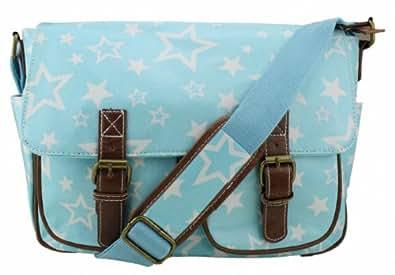 Exotic Glitter Designer Oilcloth Light Blue Stars Print Cross Body Saddle Bag Satchel Shoulder Messenger