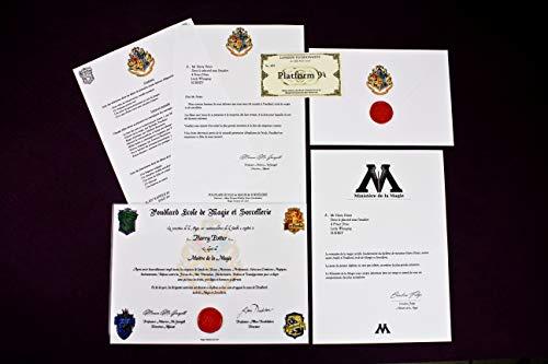 Lettre Admission Poudlard + Diplôme Personnalisée / Harry Potter Fan Art