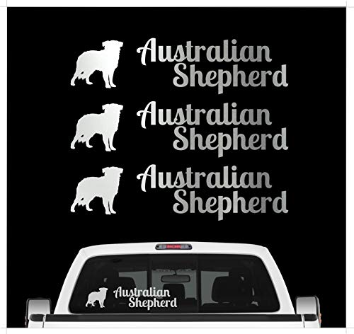 Siviwonder Australian Shepherd Aussie - 3er Set Auto Aufkleber Autoaufkleber Hundemotiv Hundeaufkleber autoaufkleber Hund Folie Aufkleber Silber -