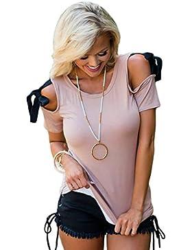 Camiseta de manga corta para el hombro con diseño de lavanda fría con lazo y detalle de blusa, talla XL