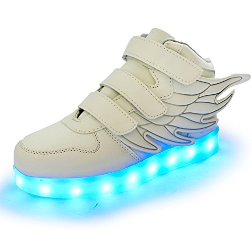Fortuning's JDS Unisex LED beleuchtete blinkende Turnschuhe USB Aufladen leuchtende Schuhe Spinnen Schuhe mit Flügeln Weiß