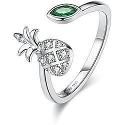Anillo para mujer, anillo de piña para niñas, anillo de plata esterlina 925 anillo ajustable anillo abierto, alto polaco resistente a deslizamiento confort ajuste mujeres FQ00017