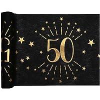 1001decotable - Chemin de table Anniversaire 50 ans noir et or métallisé x 5 mètres