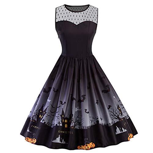 FRIENDGG Kleid Damen-Weinlese Plus GrößEn-Halloween-50S Hausfrau-Abend-Party-Abschlussball-Kleid-äRmelloses Rundes Ansatz-Elegantes Mittleres Kleid -