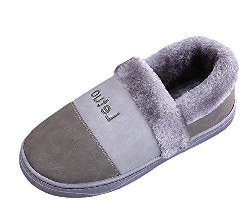 Insun Peluche Pantoufles Hommes Et Femmes Chaussons Hiver Chaud House Slipper Shoes Gris
