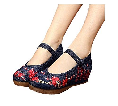 Lazutom Vintage estilo chino pintura de tinta de mujer bordado cómodo Casual zapatos de senderismo, color multicolor, talla 38 EU
