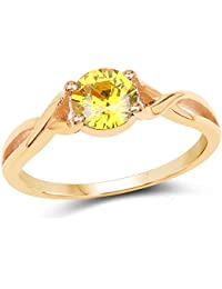 Johareez Gold Plated Fashion Statement Yellow Solitaire Cubic Zirconia Ring For Women