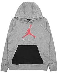 Nike Jumpman Air LWt FLC po, sudadera con capucha para hombre, Hombre, Jumpman Air Lwt Flc Po, Carbon Heather/Nero/Gym Red, Medium