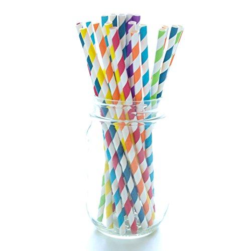 Boshiho pailles en papier à boire biodégradable Bulk pailles pour thé, DE Mariage, DE fête et d'anniversaire Stripe Random Color - Random Stripe