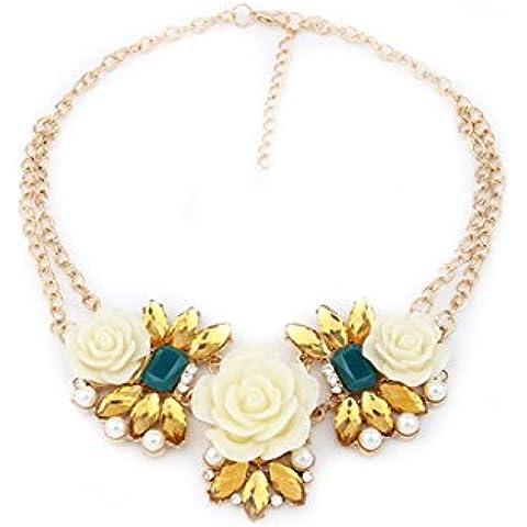 Collar - SODIAL(R)Collar de cadena de babero de flores rosa de perla de diamantes de imitacion de moda