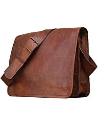 Real Leather Messenger Satchel Brown Bag II By Tech Green Inc.