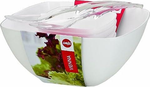 Emsa 512766 Salatschalen-Set mit Salatbesteck, 4.6 Liter und 0.6 Liter, Weiß, Vienna