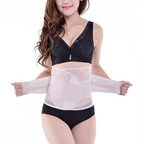 SHUAIGUO Cinturón de fisioterapia, calor, soporte lumbar con correas ajustables dobles, cinturón calentador para alivio del dolor de espalda baja, disco herniado, beige, Large
