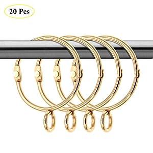 Coideal 20er Pack goldene Vorhangringe mit Ösen offene / metallische dekorative Drapierungsschlaufen aus Metall für Fenster, für bis zu 1,4-Zoll-Stangen (1,5 Zoll)
