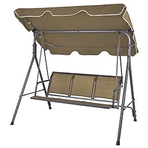 BB Sport 3-Sitzer Hollywoodschaukel BIBIONE mit abnehmbarem und neigbarem Sonnendach Gartenschaukel für 3 Personen belastbar bis 250 kg Schutzhülle optional, Farbe:Bisonbraun
