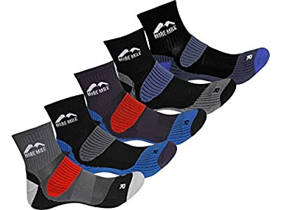 5 Pair Pack More Mile Cheviot Cushioned Padded Trail Running Socks