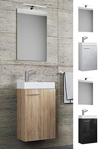 VCM Waschplatz Waschbecken Schrank + Spiegel WC Gäste Toilette Badmöbel klein schmal Slito Spiegel Sonoma-Eiche