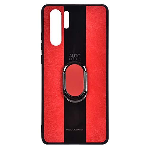 NikoStore Huawei P30 Pro PU-Leder+Innen-TPU-Rahmen Hülle, Stitching-Stil mit Träger Étanche Aux Chocs Étanche à Poussière Antidérapant Durable Case,Rot -