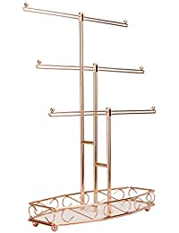 Rose Gold Jewellery Tree Stand | 3 Tier Storage Organiser | Jewellery Hanger | Table Top Display | Necklaces, Bracelets, Watches, Rings | M&W