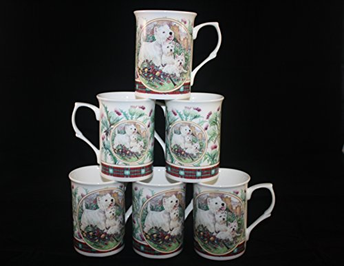 Set di 6tazze in porcellana Bone China Westie West Highland Terrier tazze set regalo