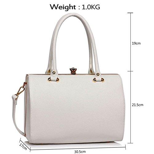 LeahWard® Damen Essener StructuRot Metal Rahmen oben Handtasche Damen Tragetaschen Handtaschen 510 Weiß/Cream