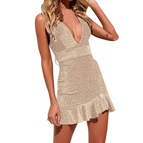 KIMODO Damen Kleider Schulterfrei Pailletten Tief V-Ausschnitt Kleid Hoch Bodycon Minikleid Partykleid Sommer Ärmellos Abendkleid (Lavendel-kleid-schuhe)