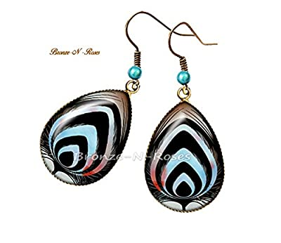 Boucles d'oreilles gouttes Plume de paon bleu bijou fantaisie cabochon bronze-n-roses