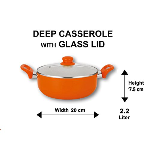Nirlon Ceramic Cookware Set, 2-Pieces, Orange (CC_FP_Cass20)