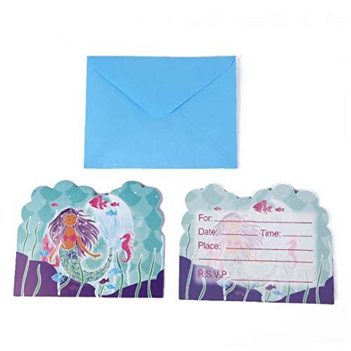 Culer 6 PC Mermaid Party Supplies-Einladungs-Karte Für Geburtstag Baby-Partei-Dekorationen Supplies Dusche