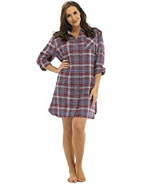 fa7af32c45 Foxbury Ladies Yarn Dyed Button Through Check Soft Flannel Night Shirt  Burgundy Or Navy