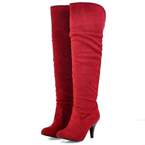 TAOFFEN Femmes Classique Automne Hiver a Enfiler Chaussures Talon Aiguille Genoux Bottes red