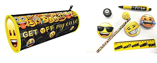 Emoji precargada papelería pencil case–Bolígrafo, lápiz, goma de borrar, regla, sacapuntas y notas adhesivas