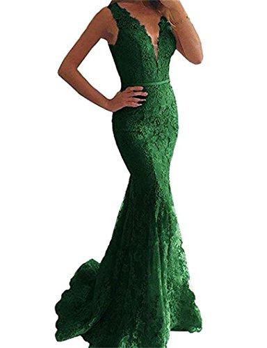 Cloverbridal Damen Spitze V-Ausschnitt Meerjungfrau Ballkleider Abendkleider Lang Formelle Partykleider Smaragdgrün 44