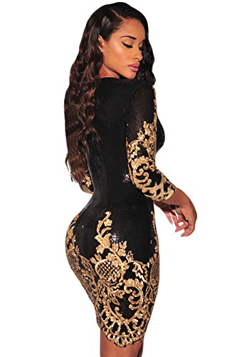 Schwarz Victorian Gold Paillette 3/4 Ärmeln Bodycon Mini kleid Damen mit reisverschluss (L, As shown) - 2