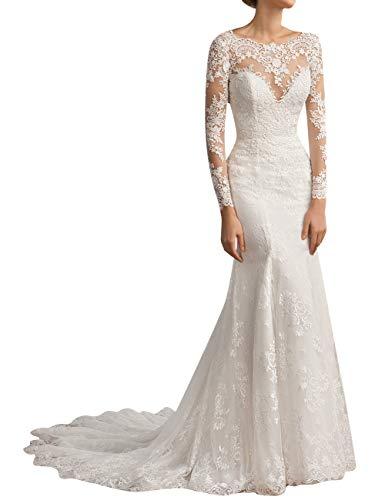 SongSurpriseMall Spitze Brautkleid Hochzeitskleid Meerjungfrau Langarm Brautmode Festkleid...