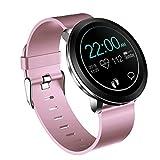 Skryo L8 Pantalla a color Mujeres Presión arterial Monitor de ritmo cardíaco Reloj inteligente Fitness (Pink)