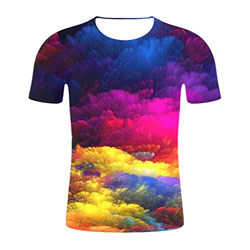 WUSIKY 2019 Oversize Tshirt Herren Hemd Kurzarm Sommer Style Print Mehrfarbig T Shirts Männer Hemden (Gelb, 3XL) -