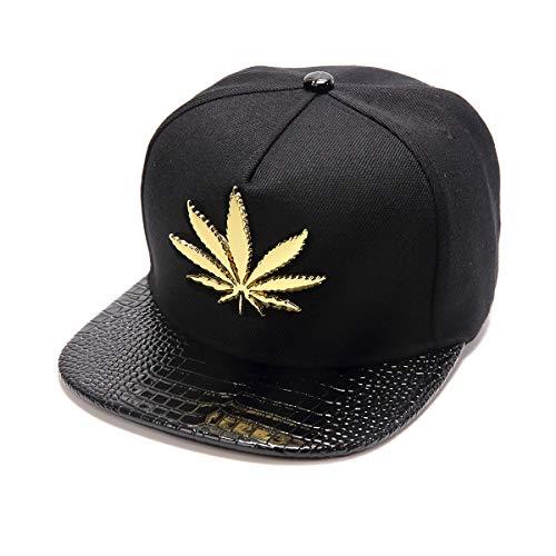MCSAYS Herren Hiphop Art und Weise PU-Leder-Flache Krempe Hysteresen-Hut Marijuana Weed Blatt Baumwolle Baseball Cap Einstellbar Schwarz