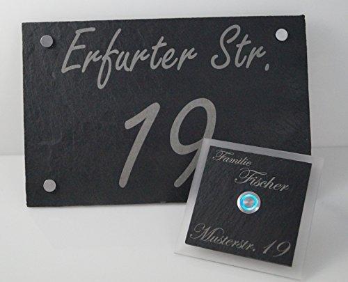 Quadrate Aus Schwarzem Schiefer (Schiefer Set Hausnummer + Türklingel mit Gravur Fischer Klingelplatte inkl. LED Taster (z.B. weiß / blau…), und Gravur / Namensgravur 1 Familienhaus - ideal als Geschenk zum Geburtstag, Hochzeit)