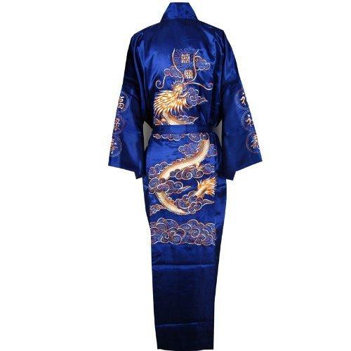 Negligee Kimono Stickerei Dunkelblau Einheitsgröße (Drachen Geisha Kostüm)