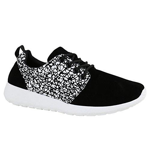 Damen Sportschuhe | Übergrößen | Trendfarben Runners | Sneakers Laufschuhe | Fitness Prints Schwarz Weiss Muster
