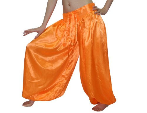 Womens Exotic Belly Dance Chiffon Harem Pants / Bloomers One Size Orange (Belly Dance Pants)