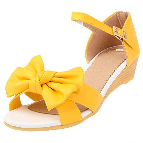 COOLCEPT Damen Mode Knochelriemchen Sandalen Open Toe Keilabsatz Schuhe Mit Bogen Gelb