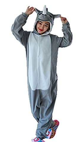Honeystore Unisex Grau Nashorn Kostüm Erwachsene Tier Jumpsuits Onesie Pyjamas Nachthemd Nachtwäsche Cosplay Overall Hausanzug Fastnachtskostüm Karnevalskostüme Faschingskostüm Kapuzenkostüm (Einfache Selbst Gemachte Kostüme Für Halloween)
