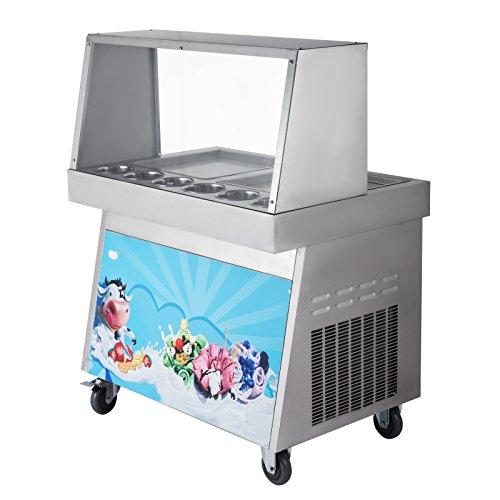 OldFe 1060W La Macchina Creatore Di Gelato Yogurt Fried Ice Cream Maker Per Yogurt Con 2 pentole 5 Secchi La Macchina Per Gelato Singola Pentola In Gelateria O Bar