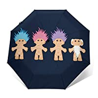 Lucky Trolls Windproof Compact Auto Open and Close Folding Umbrella,Automatic Foldable Travel Parasol Umbrella