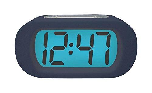 Quartz-Wecker Digital Blau, Dieser LCD Quarz-Wecker hat ein kobaltblaues unzerbrechliches Gummigehäuse. (973977007474) (Unzerbrechliche Wecker)