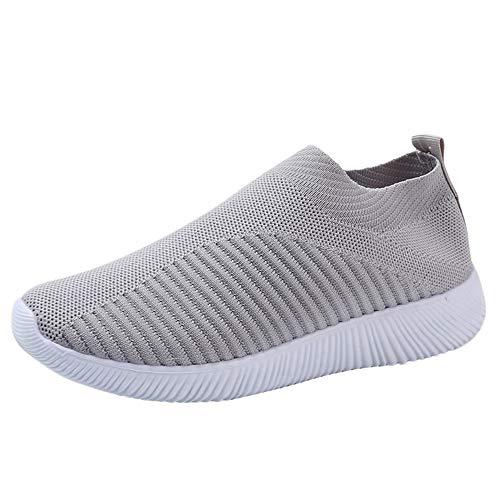 BaZhaHei-Zapatillas Zapatillas de Mujer Deporte Planas de Malla Transpirable Zapatos Casuales de...